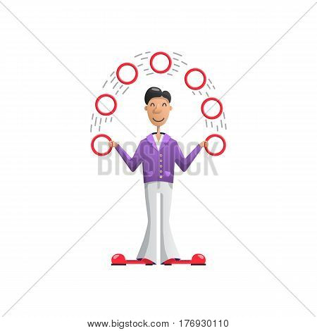 Vector illustration juggler putting on a show and juggling rings, insulated character actor of the circus