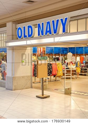 PLATTSBURGH USA - MARCH 5 2017 : Old Navy boutique in Plattsbourgh NY shopping center. Old Navy is an American clothing and accessories retailing company owned by GAP.