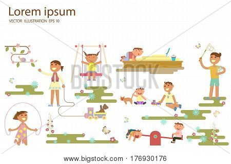 Happy childhood concept. Set of boys and girls outdoor. Children playing in the Playground, go for a drive on a swing, catching butterflies with a net, play in sand-box. Vector illustration eps 10