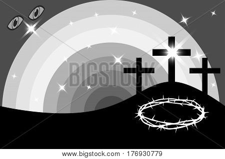 Three crosses standing on Golgotha , Easter - Golgotha