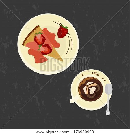 Strawberries cake with love coffee on the grey background. Top view Vector illustration eps 10