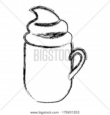 blurred silhouette mug of cappuccino with cream vector illustration
