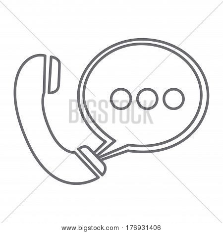 grayscale silhouette of telephone with oval speech vector illustration