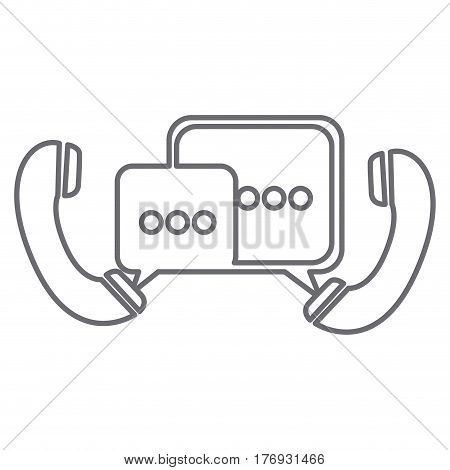 grayscale silhouette of telephones with dialogue box vector illustration