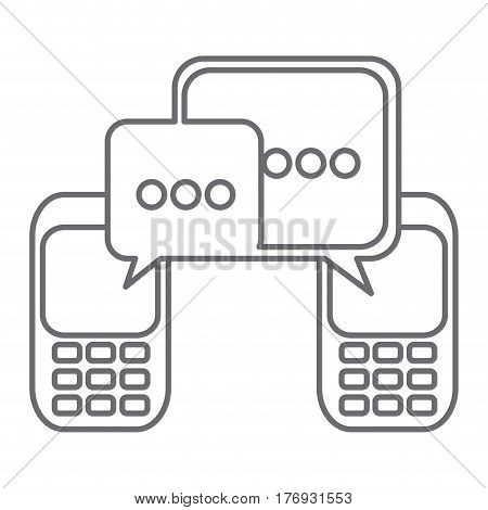 grayscale silhouette of cell phones communication dialogue box vector illustration