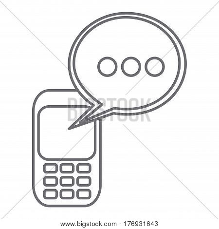 grayscale silhouette of cell phone with oval speech vector illustration