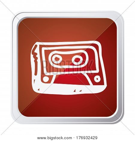 button of cassette tape with background red and hand drawn vector illustration