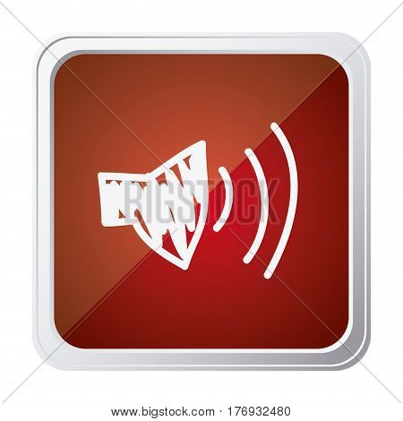 button of audio speaker volume with background red and hand drawn vector illustration
