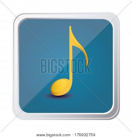 button of sign eighth note in yellow with background blue vector illustration