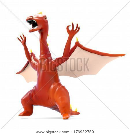 Red funny cartoon evil dragon isolated on white. 3d illustration