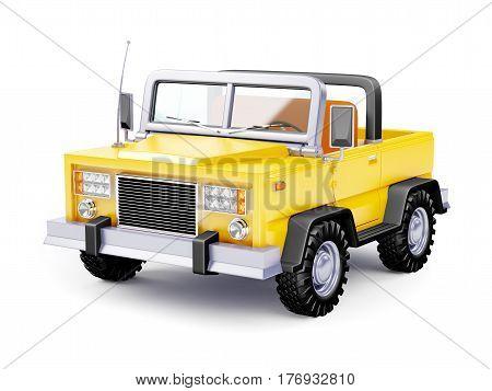 Yellow safari suv in retro cartoon style isolated on white. 3d illustration.