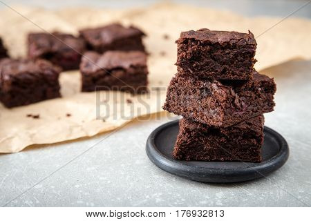 Homemade Delicious Chocolate Brownies. Closeup Chocolate Cake