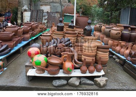 Handmade clay pots jars drinking jug pitcher. Handmade Ceramic Pottery. Traditional Ceramic Jugs