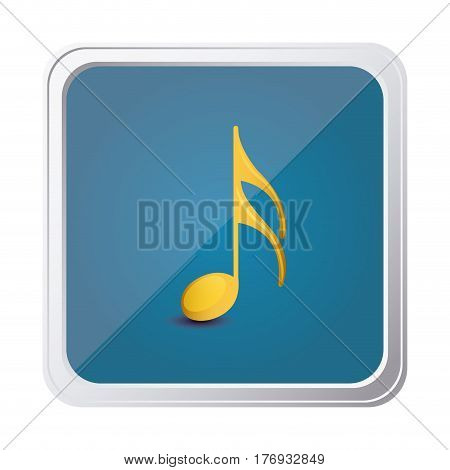 button of semiquaver note in yellow with background blue vector illustration
