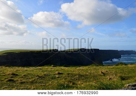 Amazing seascape of the Cliffs of Moher in Ireland.