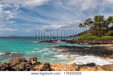 Tropical ocean views from Maui , Hawaii looking towards Molokini island.