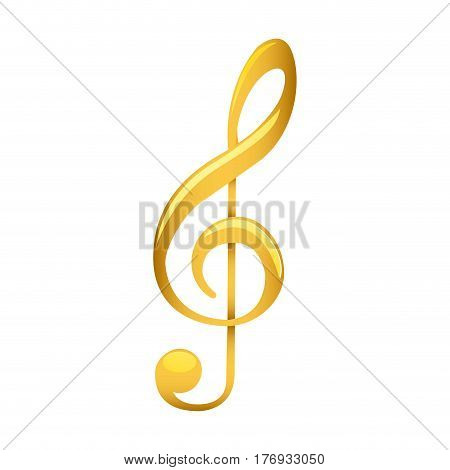 treble clef in golden with background white vector illustration