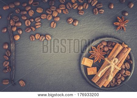 Roasted Coffee Beans Background. Coffee Beans With Copy Space For Text. Seasoning. Spice. Cinnamon.
