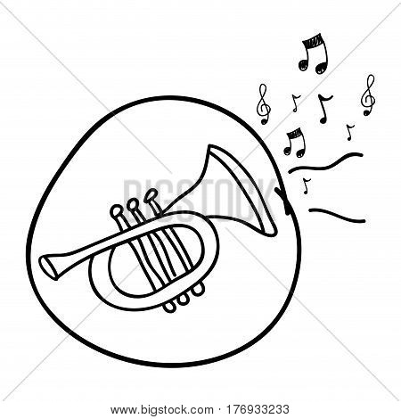 monochrome hand drawing of trumpet in circle and musical notes vector illustration