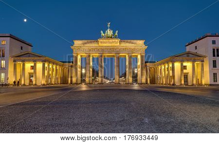 Panorama of the famous Brandenburger Tor in Berlin at night