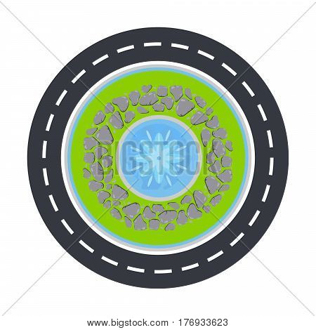 Road circle and fountain with pebble border inside top view vector illustration isolated on white.