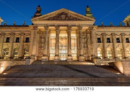 Detail of the Reichstag in Berlin at night
