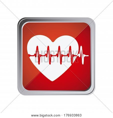button with heart vital sign with background red vector illustration