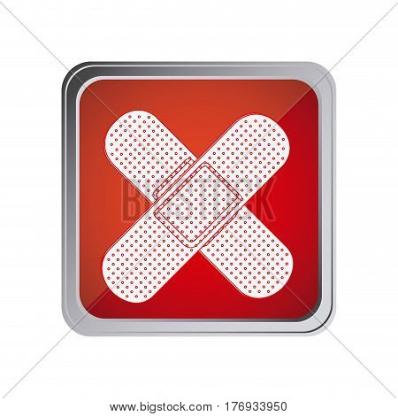 button with crossed adhesive band with background red vector illustration