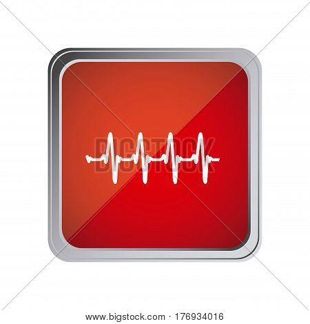 button with vital sign line with background red vector illustration