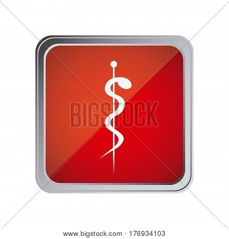 button with aesculapian staff with background red vector illustration