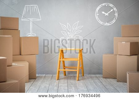 New Home Moving Day House Concept