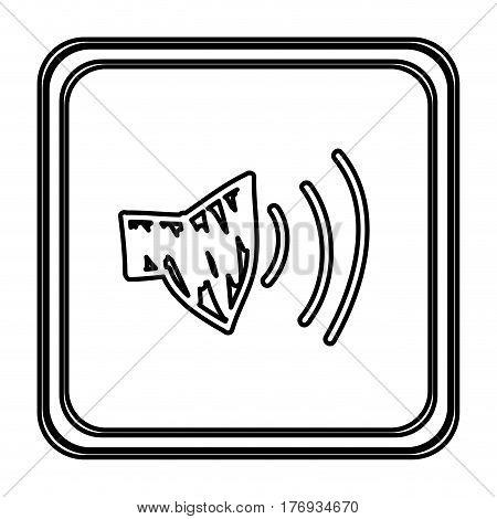 monochrome contour with button of audio speaker volume hand drawn vector illustration