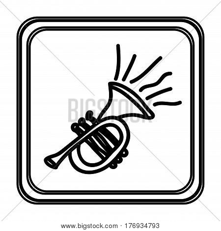 monochrome contour with trumpet hand drawn vector illustration