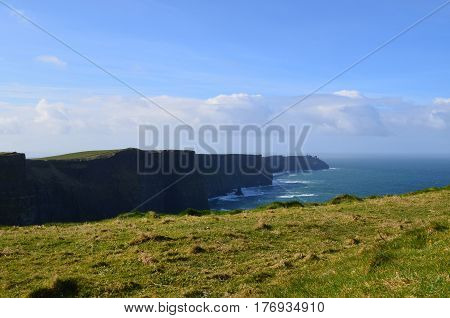 Beautiful scenic views of the Cliff's of Moher in Ireland.