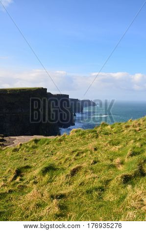 Gorgeous picturesque view of the Cliff's of Moher in Ireland.