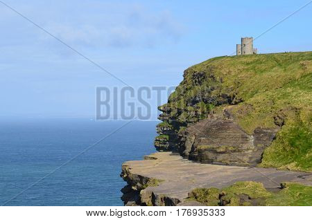 Beautiful look at O'Brien's Tower on the Cliff's of Moher in Ireland.