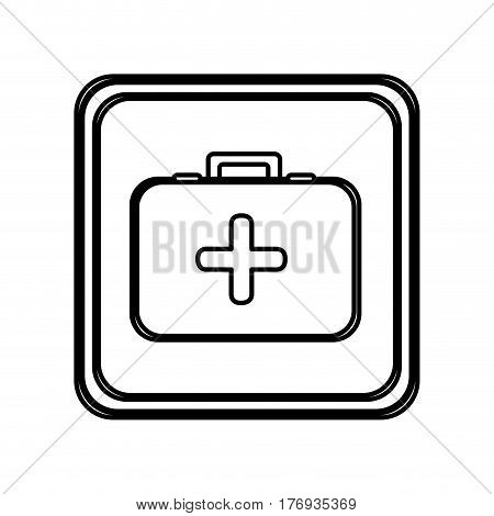 monochrome contour of button with first aid kit vector illustration