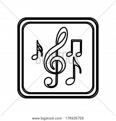 monochrome contour of button with set of musical note vector illustration