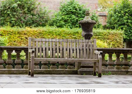 beautiful view on wonderful bench in one of the parks