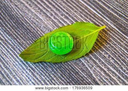 Mint sugar, mint-flavored tiny candies, mint-flavored sugar for cooling, minted sugar for nausea, green mint and mint-flavored sugar concepts
