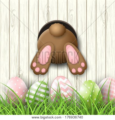 Easter motive, brown bunny bottom and easter pink and green eggs and fresh grass on white wooden background, vector illustration, eps 10 with transparency and gradient meshes