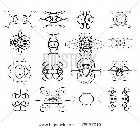 Vector icons shapes isolated over white background decoration elements vector illustration set