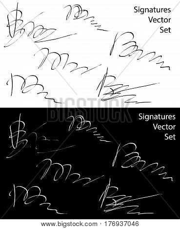 Signature vector icons isolated over white and black background vector collection
