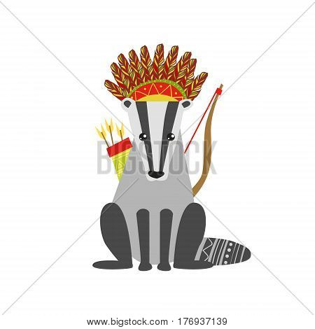 Badger Wearing Tribal Clothing  Colorful Flat Isolated Icon In Cool Detailed Artistic Design Isolated On White Background