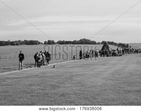 Stonehenge Monument In Amesbury In Black And White