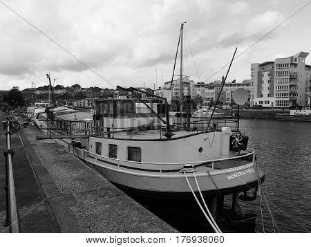 Bristol Harbour In Bristol In Black And White
