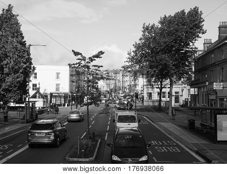 View Of The City Of Bristol In Black And White