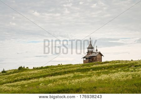 Old wooden church on the hill chapel Holy Face Kizhi island Karelia Russia