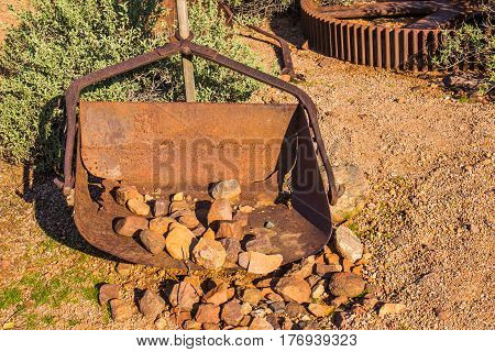 Vintage Rusted Scoop Bucket Used In Mining Operations