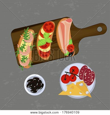 Bruschetta on the grey background. Top view Vector illustration eps 10